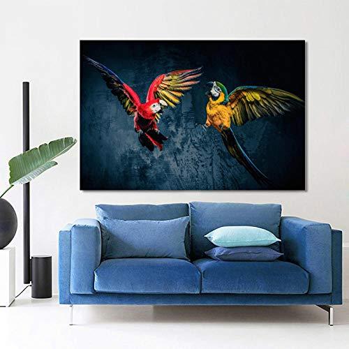 N/A Cuadro de lienzo con impresión de pintura decorativa moderna y hermosa loros Animal Canvas Pintura de pared para sala de estar, decoración del hogar (50 cm x 70 cm, 50 cm x 28 pulgadas)