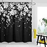Black and White Flower Shower Curtains for Bathroom, Classy Fabric Black Floral Shower Curtain, with 12 Hooks 72'x72' (Black & White)