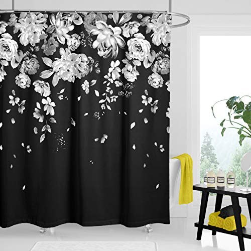 """Black and White Flower Shower Curtains for Bathroom, Classy Fabric Black Floral Shower Curtain, with 12 Hooks 72""""x72"""" (Black & White)"""
