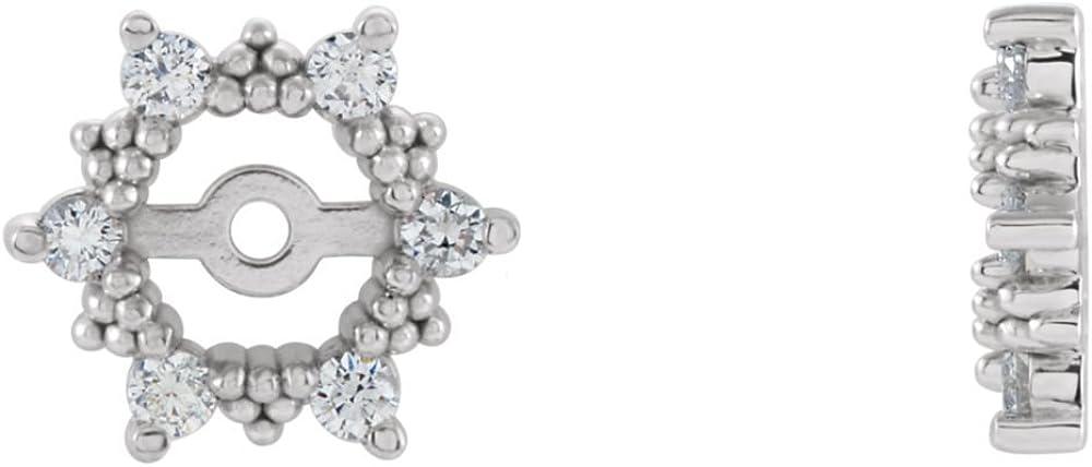 FB Jewels 14k White Gold Pair 1/4 Cttw Polished Diamond Earring Jacket
