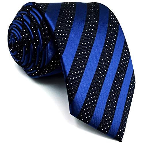 S&W SHLAX&WING Azul Corbatas for Men Rayas Corbatas Traje de negocios Negro 147cm