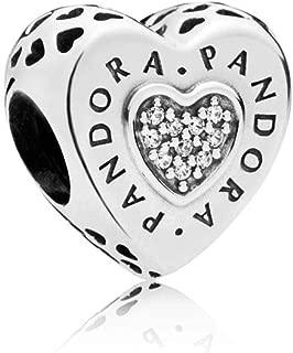 Pandora Logo Silver Heart Charm with Clear Cubic Zirconia797375CZ