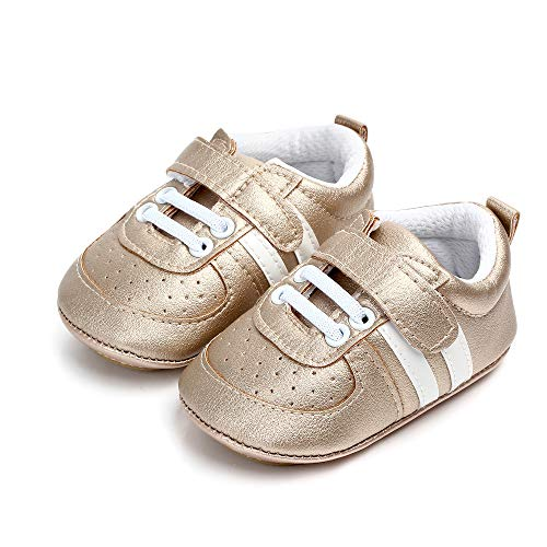 Ortego Unisex Baby Lauflernschuhe Jungen Mädchen Krabbelschuhe Kleinkind Rutschfesten Babyschuhe Lederpuschen Golden 3-6 Monate