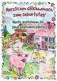 bentino Geburtstagskarte XL mit Sound und BERÜHR-Funktion, per Knopfdruck kannst Du die Tierstimmen hören, DIN A4 Set mit Umschlag, Grußkarte Bauernhof Karte mit Sound für Mädchen und Jungs