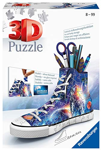 Ravensburger 3D Puzzle 11251 Sneaker Astronauten im Weltall - Praktischer Stiftehalter - 108 Teile - Schreibtisch-Organizer für Kinder ab 8 Jahren