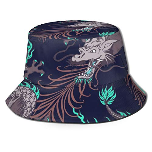 remmber me Drache und Pfauenfeder 100% Polyester Eimer Hut für Männer Frauen Kinder Sommer Kappe Angeln Hut