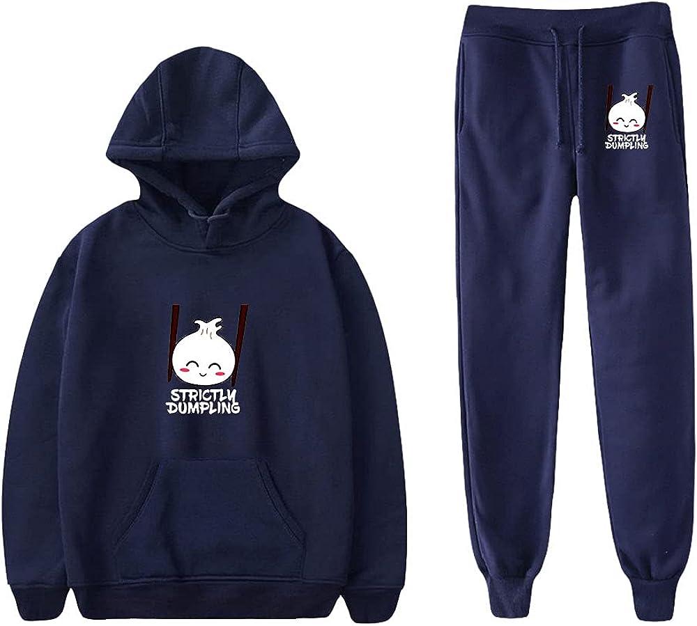 Unizka Strictly Dumpling 2 Pieces Sets Hoodie & Trousers Unisex Kawaii Hip Hop Influencer Suit (Navy,Small)