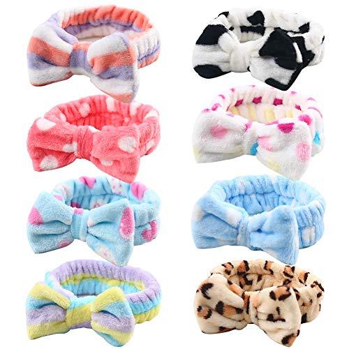 VGOODALL Haarband Spa, 8 Stücke Kosmetische Haarband Make Up Stirnband in 8 Designs Elastisches Haarband zum Waschen Spa Yoga Beauty Gesichtspflege Make-up für Damen