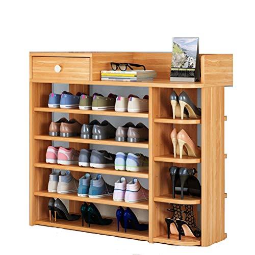 Wanforjewellery Schoenenkast van hout, DIY schoenenrek 5 vakken, gangcommode met lade 80 * 25 * 90cm
