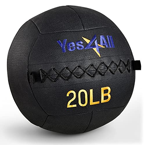 Yes4All 20 lb Wall Ball - Soft Medicine Ball/Wall Medicine Ball for Full Body Dynamic Exercises, Black