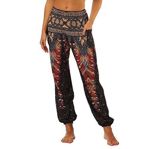 Shujin Dame Hippie Hose Pumphose Haremshose Boho Gemustert Gesmockte Taille mit Taschen Freizeithose Sommerhose Yogahose