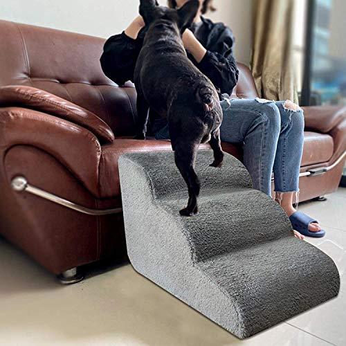 rampa per Cani Scala per Scale per Cani, 2 Strati / 3 Strati Rampa per Scale per Animali Domestici con Pendenza Facile, Scala per Letto per Cane/Gatto Scala con Divano Lavabile (grigio, 3-layer)