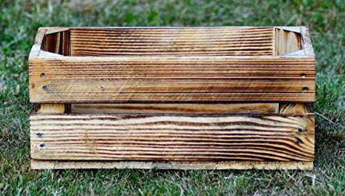 Holzkiste geflammt 40 x 20 x 16 cm Natur Blumentopf Blumenkasten Regal Aufbewahrung Obst Holz Kiste