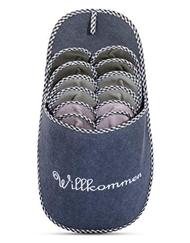 ONVAYA Pantofole per ospiti antiscivolo | set di 6 | Ciabatta in feltro | Willkommen benvenuto grigio