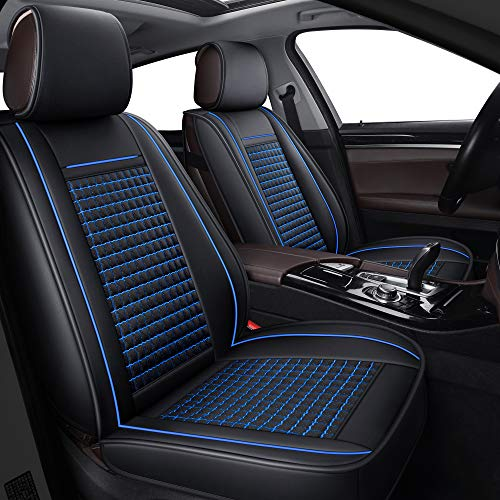 LUCKYMAN CLUB 04-FangGe SUV Car Seat Covers Fit for Jeep Grand Cherokee Renegade Patriot with Breathable Faux Leather (Black & Blue Full Set)