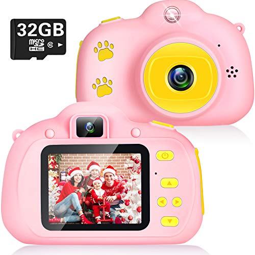 Kids Camera, Best Birthday Christmas Kids Gifts for 3-10 Age Girls Toys, 1080P Kids Selfie Camera with 8MP Dual Cameras Children Digital Camera 2.0 IPS Toddler Girls Camera with 32GB SD Card (Pink)