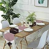 Meiya-Design Camino de mesa para aparador, bufandas de mármol rosa y granate, diseño geométrico sin costuras, para cenas de granja, fiestas de vacaciones, bodas, eventos, decoración - 33 x 70 pulgadas
