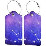 Aquarius signo del zodiaco personalizado cuero lujo maleta etiqueta Set viaje Accesorios equipaje etiquetas