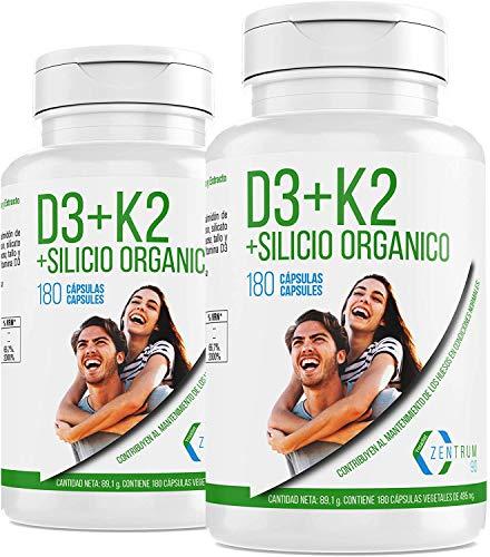 Vitamina D3 K2 y silicio orgánico para el mantenimiento de unos huesos fuertes – Vitaminas para la correcta absorción del calcio en nuestro organismo–360 CAP