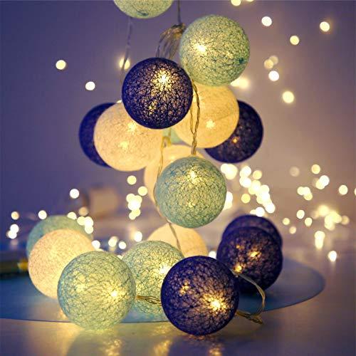 Ghirlanda luminosa Sfere cotone LED con 20 Sfere di Cotone con Ganci 3M Ghirlanda Fata di Luci a Batteria per Balcone Festa Matrimonio Vacanze Decorazione Interna (tonalità blu, alimentate a batteria)