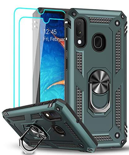 LeYi für Samsung Galaxy A20e Hülle mit Panzerglas Schutzfolie(2 Stück),360 Grad Ring Halter Handy Hüllen Cover Magnetische Bumper Schutzhülle für Case Samsung Galaxy A20e Handyhülle Dunkelgrün