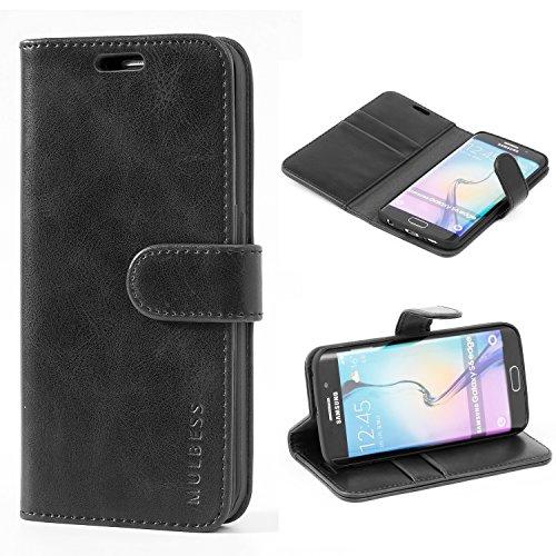Mulbess Handyhülle für Samsung Galaxy S6 Edge Hülle, Leder Flip Case Schutzhülle für Samsung Galaxy S6 Edge Tasche, Schwarz