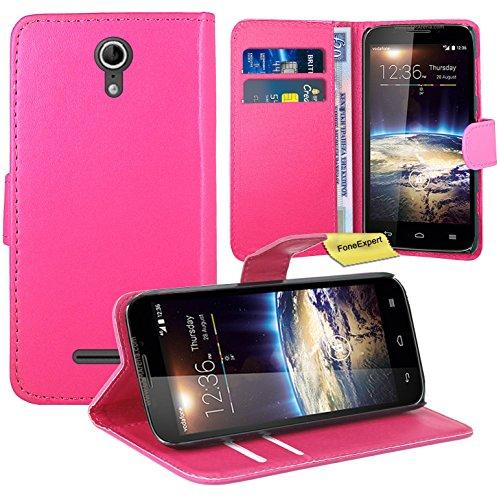 Vodafone Smart 4 Power Handy Tasche, FoneExpert® Wallet Hülle Flip Cover Hüllen Etui Ledertasche Lederhülle Premium Schutzhülle für Vodafone Smart 4 Power (Rosa)