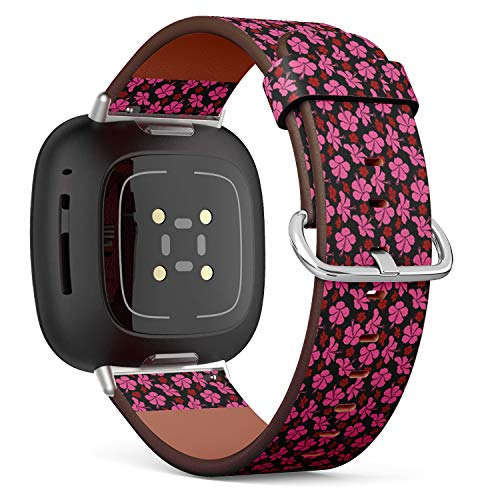 SMODDIX Replacement Band Compatible with Fitbit Sense/Fitbit Versa 3, Leather Strap Wristband Bracelet (Best Creative Design Posters Flyers)