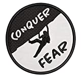 Rock Climbing Extreme Sports Conquer Fear Embroidered Premium Patch DIY Iron-on or Sew-on Decorative Badge Emblem Vacation Souvenir Travel Gear Clothes Appliques