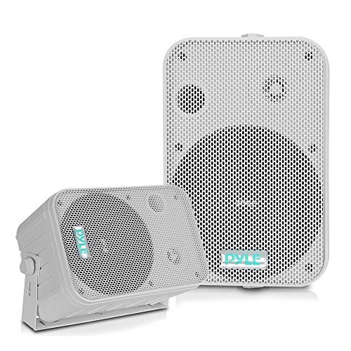 Dual Waterproof Outdoor Speaker System - 6.5 Inch Pair of Weatherproof Wall / Ceiling Mounted Speakers w/ Heavy Duty Grill, Universal Mount - For Use in the Pool, Patio, Indoor - Pyle PDWR50W (White)
