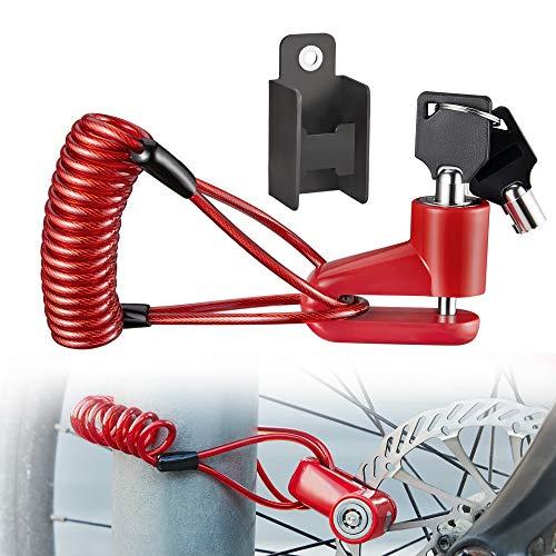 Enmoo Universal Disc Brake Lock Bike Anti -Theft Disc Lock Mountain Road MTB Cycling Rotor Disc Brake Wheel Lock with Reminder Cable Red