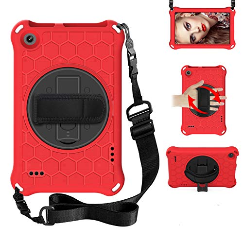 BAUBEY Case for Amazon Fire 7 Tablet (9th Generation 2019 & 7th Generation 2017 & 5th Generation 2015) Drop & Shockproof Hybrid Case with 360 Rotating Stand Hand Strap Shoulder Strap (Red+Black)