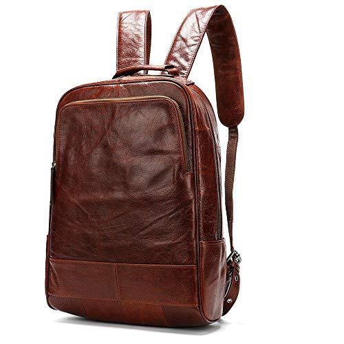 Mochila de Viaje para Hombre de Cuero para Hombre Mochila para portátil de 14 Pulgadas-Rojo marrón