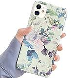 Ownest. Funda compatible con iPhone 11 con purpurina vintage flores y hojas patrón para mujeres niñas elegante floral TPU suave brillante protección a prueba de golpes para iPhone 11-verde