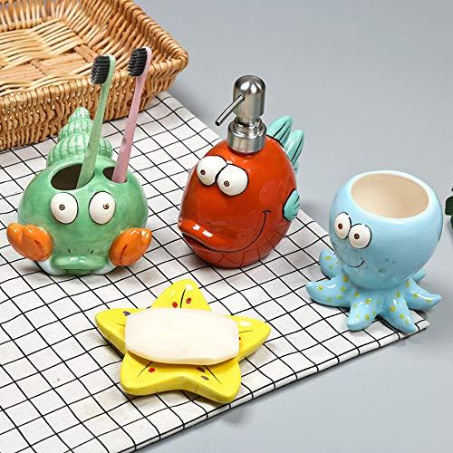 WYZQQ 4-teiliges Keramik-Badaccessoires-Set Für Kinder, Seifenspender Für Den Haushalt, Zahnbürstenhalter, Mundspülbecher, Seifenkiste - Cartoon-Tierform, Kinder