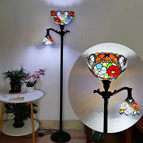 Tiffany Style Floor Lamp, Vintage Handmade Shell Mosaic Floor Uplighter, 2 Light, Antique Rustic Metal Base Decor LED Standing Light for Bedroom Living Room Office Reading(30 170cm),C ( Color : 4 )