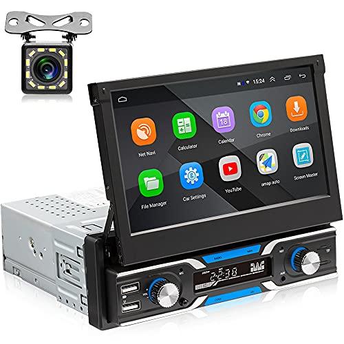 Hikity Autoradio 1 Din Android GPS Bluetooth Radio Auto con Schermo 7 Pollici Automatico Estraibile Touchscreen Stereo Auto FM Radio WIFI Aux-in Mirror Link SWC + Telecamera Posteriore