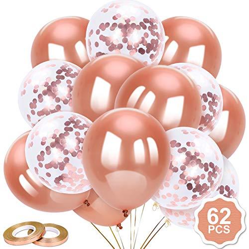 Qpout 62pcs 12Inches Latex Luftballons Konfetti Luftballons Roségold Helium Luftballons Partyzubehör für Roségold Themengeburtstag Babyparty Hochzeit Brautdusche Abschluss Valentine Party Dekoration
