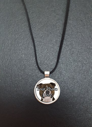 Personalised Staffordshire Bull Terrier Your Dog Photo Pendant On a 18' Black Cord Necklace With Lobster Clasp Fastener Ideal Birthday Gift