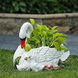 Unknown1 Resin White Swan Planter Traditional Round