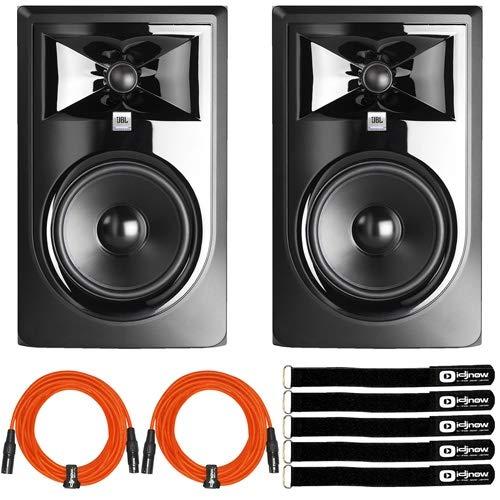 "JBL 306P MKII 6.5"" Powered Studio Recording Monitor Speakers Pair w Orange Cable"