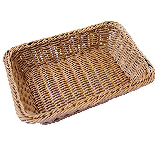 QMYS Cestino per il pane in vimini di colore naturale di bambù per esporre il vassoio di immagazzinaggio rettangolar in rattan salotto decorazione cesti porta frutta snack contenitore cestino (M)
