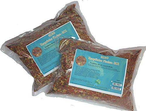 MIBO Flockenfutter 10.000 ml / 1700g Fischfutter in 2 x 5000 ml Siegelrandbeutel Fischfutter Aquarium Futter für alle Zierfische