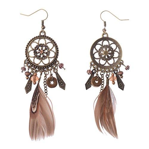 fablcrew Retro Plumas Atrapasueños pendientes oreja studs joyas accesorios para niñas Lady