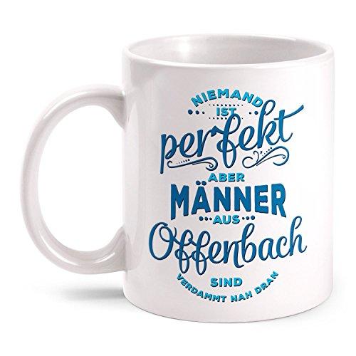 Fashionalarm Tasse Niemand ist ideal - Männer aus Offenbach - beidseitig bedruckt mit lustigem Spruch   Geschenk Idee für Offenbacher   Stadt, Farbe:weiß