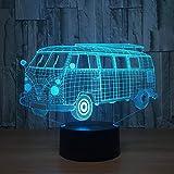 Bus de luz nocturna 3d lámpara de repuesto de 7 colores decoración de fiesta en el hogar oficina visual LED juguete USB luz para dormir para niños