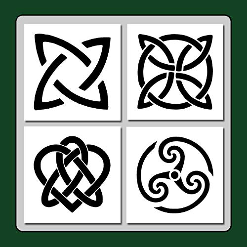 Set of 4 Celtic Knots Craft Stencils Templates Wiccan/Irish Decor/Medieval