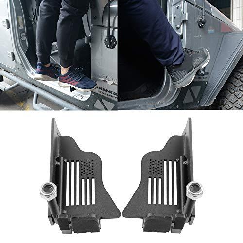 Metal Steel Front Door Foot Pegs with US Flag Style for 2007-2021 Jeep Wrangler JK JKU JL JLU