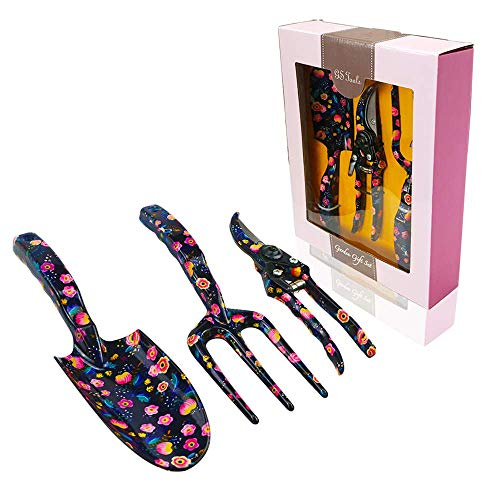 GS Tools 3 Piece Aluminum Garden Tool Set with Floral Print, Gardening Tool Kit - Hand Trowel, Fork, Pruning Shear Best Gift for Women and Children