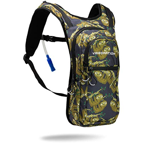 Vibedration VIP 2 Liter Hydration Pack Water Backpack for Hiking, Running, Mountain Biking, Cycling, Climbing, Festivals, Raves (Sloths)